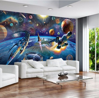 Bacaz 8d Outer Space Universe Spaceship 3d Cartoon Wallpaper Mural For Baby Child Room 3d Cartoon Mural Wall Paper 3d Wall Decor Buy At The Price Of 15 30 In Aliexpress Com