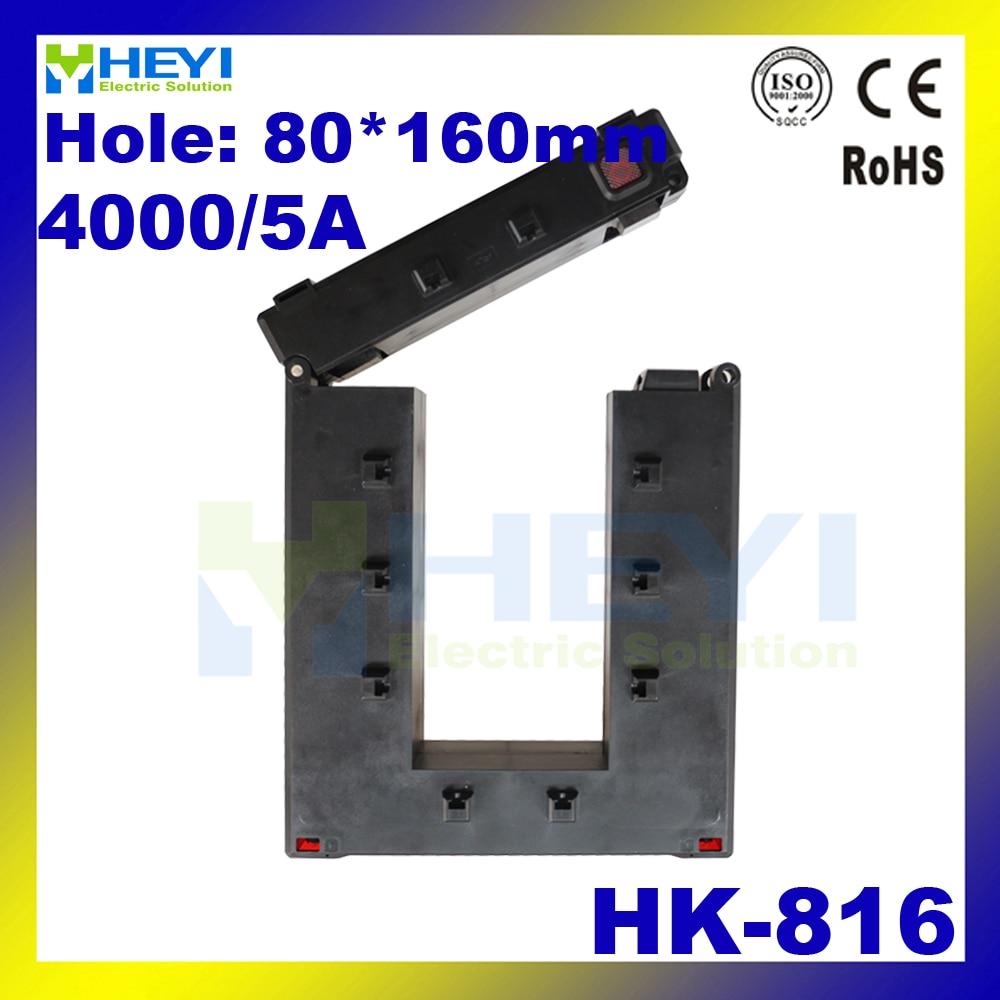 Pince sur le noyau fendu transformateur de courant HK-816 80*160mm 4000/5A basse tension capteur de courant base jeu de barres de montage