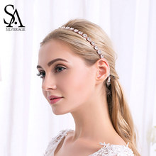 SA SILVERAGE Flower Crystal Wedding Hairbands for Woman Silver/Rose Gold/Gold Color Hair Accessories Bride Headdress by 1pcs(China)