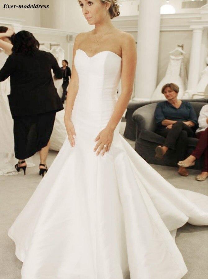 Satin Simple Wedding Dresses 2019 Mermaid Sweetheart Lace Up Back Sweep Train Elegant Bridal Gowns Plus Size Vestido De Noiva