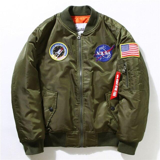Зимние Мужские MA-1 Летчик Бомбардировщик Куртка Мужской Нейлон Летающие Тигры НАСА Вышивка Army Green Военная Ввс Ma1 Полета Куртки