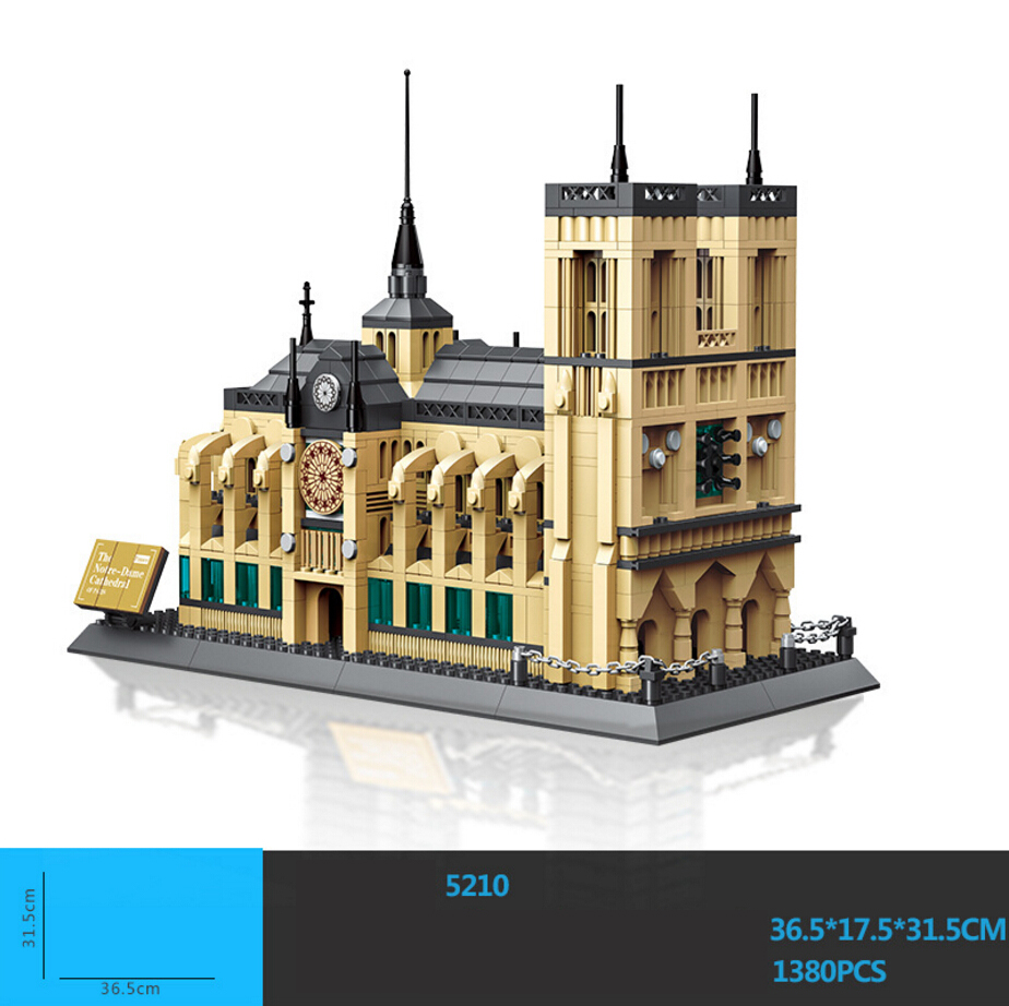 Hot world famous Architecture France Cathedral Notre-Dame de Paris building block model bricks educational toys collection loz mini diamond building block world famous architecture nanoblock easter island moai portrait stone model educational toys