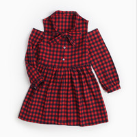 Girls tied to the fall plaid dress children cotton princess Christmas dress children's clothing new style