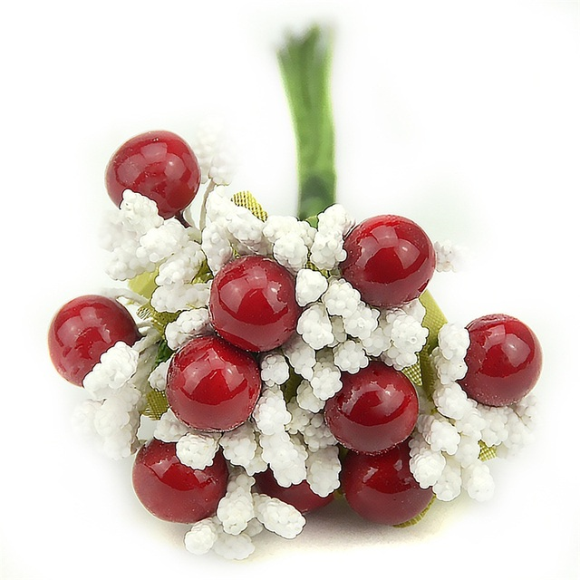 10pcs Pearl Berry Artificial StamenFlower For Wedding Home Decoration DIY wreath Scrapbooking Craft Cheap Fake Foam Flowers 4