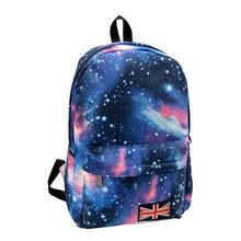 4941a5c2fd80 2018 Новая мода унисекс Stars Вселенная Космос печати рюкзак школьный книга  рюкзаки британский флаг сумка Mochila