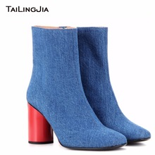 Fashion Woman Jean Blue Block High Heel Cowboy Boots With Zipper Ladies Pointed Toe Winter Fall Ankle Boots With Red Mid Heel ladies sexy pointed toe blue denim lace up short boots super high heel jean ankle booties street fashion boots