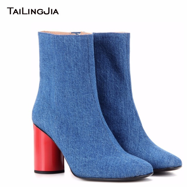 Fashion Woman Jean Blue Block High Heel Cowboy Boots With Zipper Ladies Pointed Toe Winter Fall Ankle Boots With Red Mid Heel