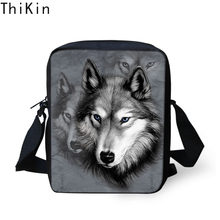 THIKIN Men Messenger Bags Cool Animals Wolf Shoulder Bag 3D Children Boys Crossbody Mini Mens Travel Handbag Dropping