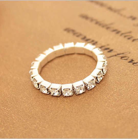 J599 ผู้ผลิตขายส่งเกาหลีแฟชั่นคริสตัล - encrusted ยืดหยุ่น hipster แหวน