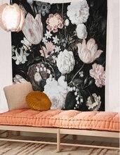 Cilected新発売黒花美しい花壁フローラルタペストリー生地壁紙家の装飾148x200センチメートルツインサイズ