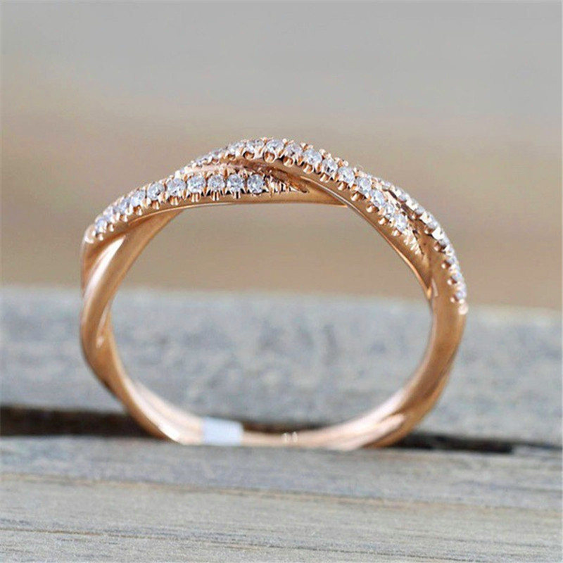 Reasonable Blaike Simple Twist Cross Wave Ring For Women Trendy Stackable Thin Midi Engagement Rings Rose Gold/925 Silver Filled Jewelry Good Reputation Over The World Rings