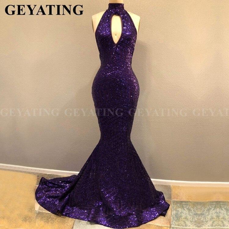 Sexy Keyhole Halter Neck Backless Mermaid Purple African   Prom     Dresses   2019 Sparkly Sequin Long Black Girls Graduation Gala   Dress