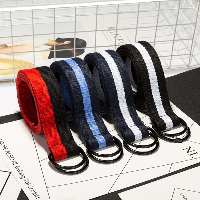 Fashion Neutral Nylon Canvas   Belt   Color Stripes D Ring Double Buckle Student   Belt   DIY   Belts   Jeans   Belt   110cm
