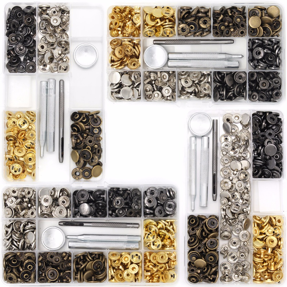 Metal Snap-on Leather Craft Snap Fasteners Snap Button Press 4Style 40-120Pcs / Pack Set Fasteners Press Stud Button 633#