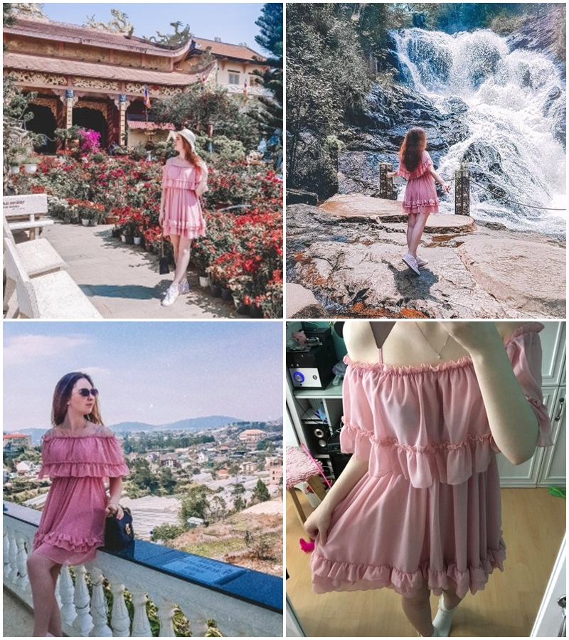 Elegant women dress and sundress Simplee Elegant ruffle off shoulder women dress Spaghetti strap chiffon summer dresses Casual holiday female pink short sundress 4