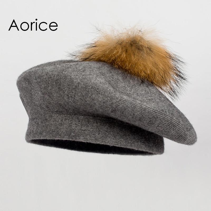 Aorice women winter warm knitted hat cap beanies beret with real raccoon fur ball hk706 women artist beret cap french style autumn