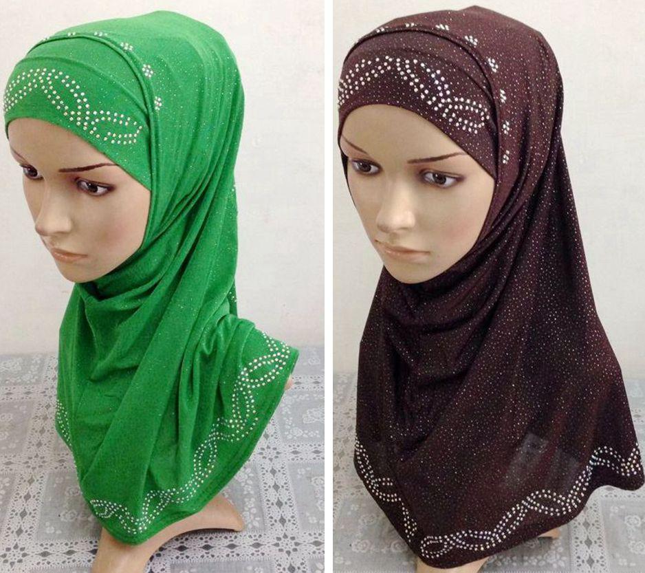 jersey scarf hijabs and shawls two tone hijab rhinestone ...