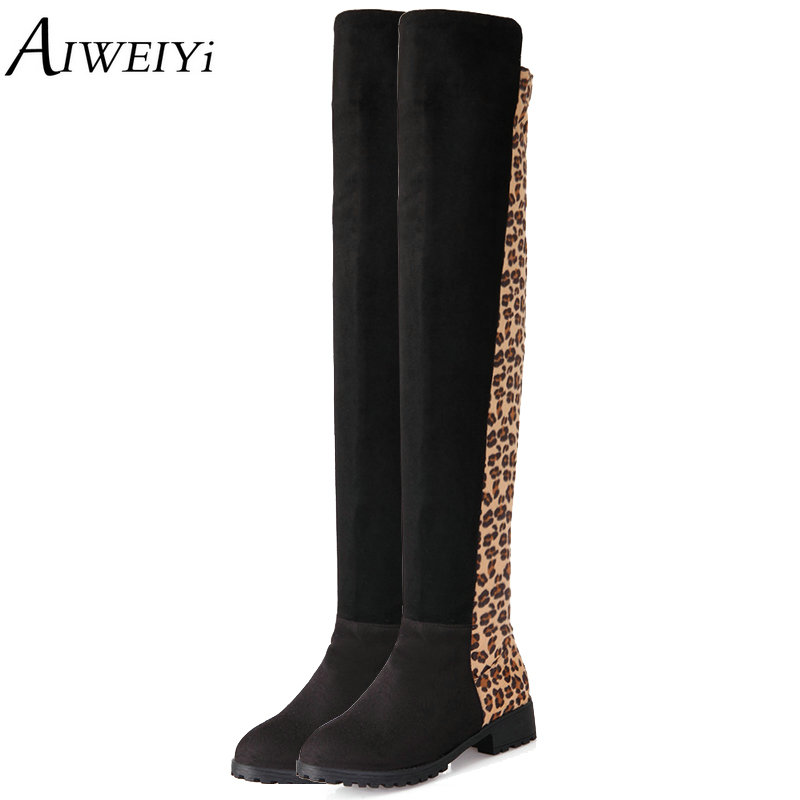 AIWEIYi 2018 Ladies Shoes Square Low Heel Women Over The Knee Boots Leopard Print Round Toe Woman Motorcycle Boots Size 34-43 pop art style leopard print pattern square shape pillowcase