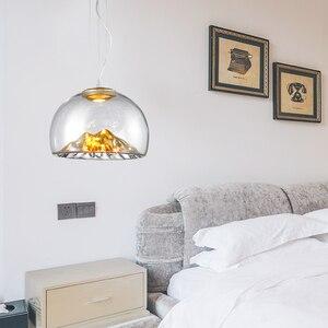 Image 4 - Дизайнерсветодиодный монолитный блок светодиодов D40 см 110 В 220 В 3000 К теплый белый 12 Вт Золотой/Серебряный горный прозрачный стеклянный подвесной светильник Подвесная лампа