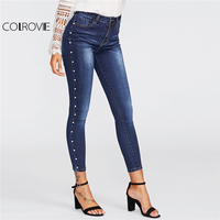 COLROVIE 2018 Spring Skinny Pearl Beading Faded Wash Jeans Blue Mid Waist Zipper Fly Plain Denim