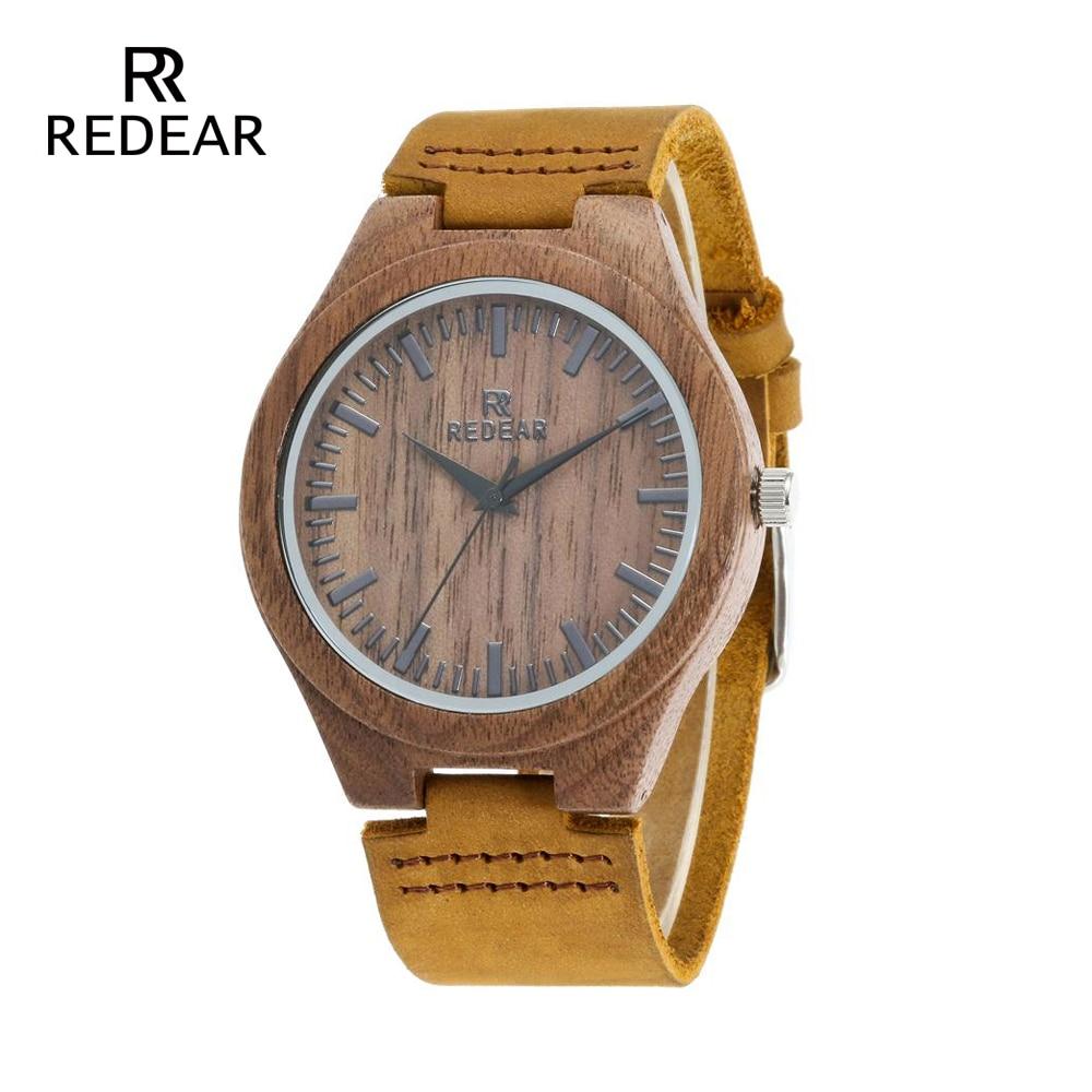 REDEAR Klasyczny projekt marki Zegarki z drewna orzechowego z - Zegarki damskie - Zdjęcie 1
