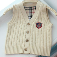 Spring Autumn Boys Girls Sleeveless Sweater Cotton Cable Knitted Vest Kid S Plaid Cardigan 1 3T