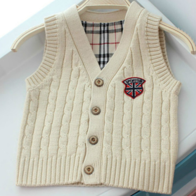 Spring Autumn Boys Girls Sleeveless Sweater Cotton Cable Knitted