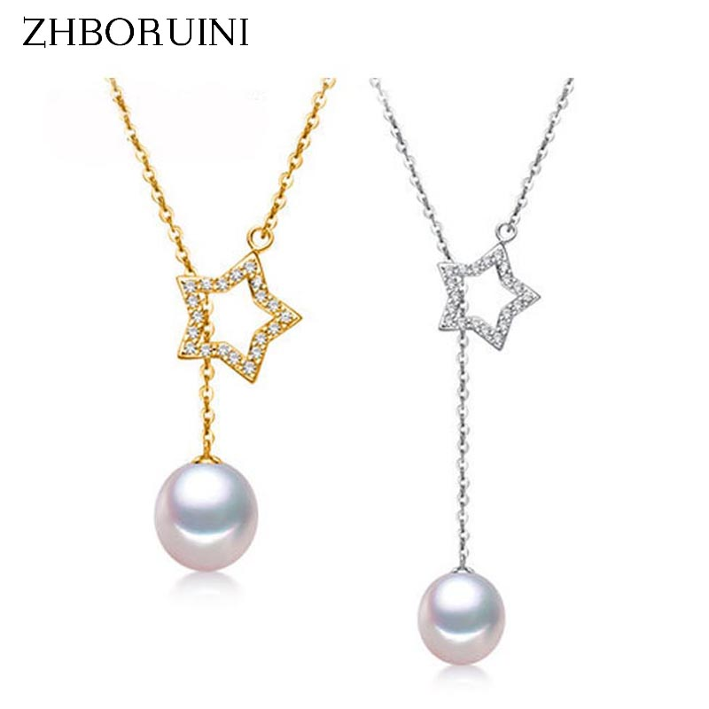 ZHBORUINI New Pearl Necklace Natural Freshwater Pearl Lucky Star Necklace Pendant 925 Sterling Silver Jewelry For Women Gift