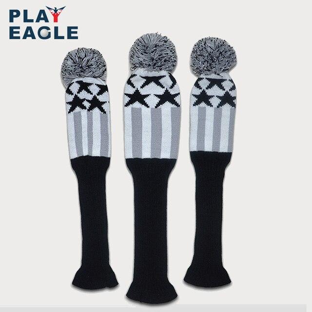 Couvre chef de club de Golf 3 pièces/ensemble à tricoter couvre chef de pilote de Golf en bois laine tricotée 1 3 5 couvre chef gris à rayures avec étiquette numérique