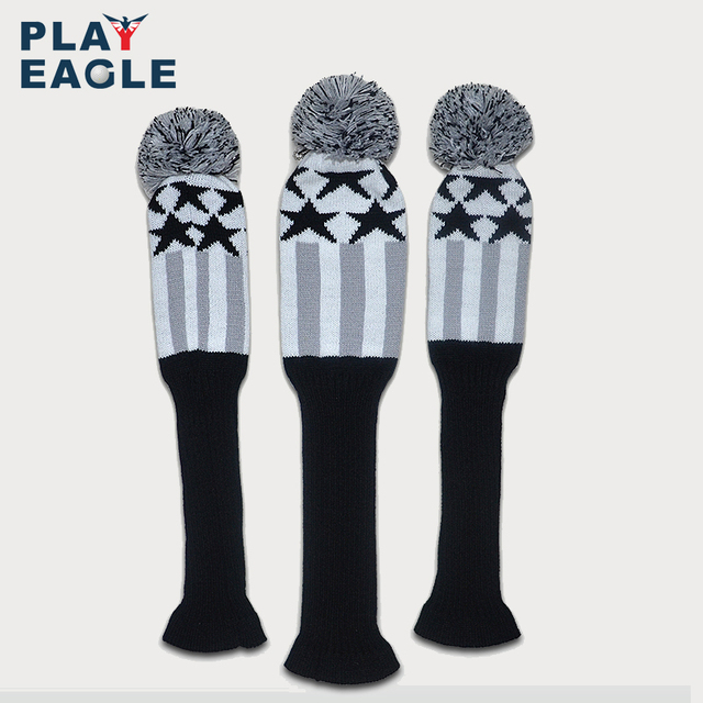 Golf Clubs Headcover 3pcs/set Kniting Golf Driver Wood Head Covers Knit Wool 1 3 5 Fairway Grey Stripe Headcover with Number Tag