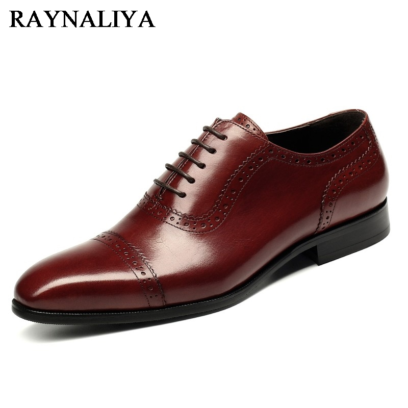 Plus Size 37-44 Men Leather Dress Shoes Pointed Toe Business Formal Men Office Shoes Lace Up Black Brown Oxford Shoes YJ-B0018 british fashion men business office formal dress breathable genuine leather shoes lace up oxford shoe pointed toe teenage sapato