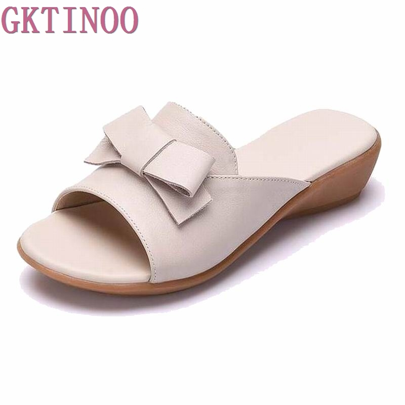 2018 Summer shoes Woman open toe Women genuine leather Wedges sandals Casual platform Sandals Women Sandals &Slippers S761 gktinoo summer shoes woman genuine leather sandals open toe women shoes slip on wedges platform sandals women plus size 34 43