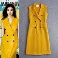 High Quality New Fashion Long Coat 2016 Autumn Winter Women Turn-down Collar Double Breasted Wool Cashmere Long Vest Coat Jacket