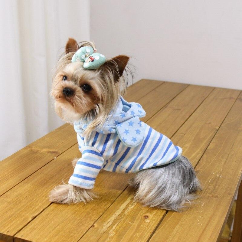 Повседневное большие уши в полоску Собака толстовки Тедди Йоркшир Одежда для собак жилеты рубашки cat товары для животных для собак весна 17008 ...