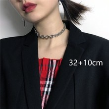 Personality titanium steel thick chain collar Europe and the United States Harajuku punk wind short necklace clavicle tide