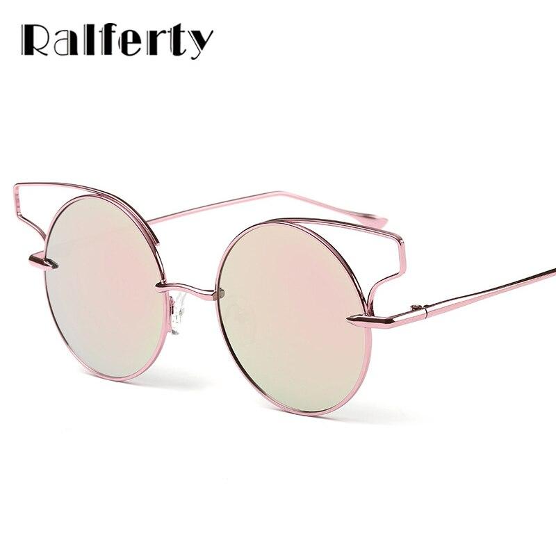 ralferty vintage ladies cat eye sunglasses women rose gold wire frame sun glasses round mirrored sunglass