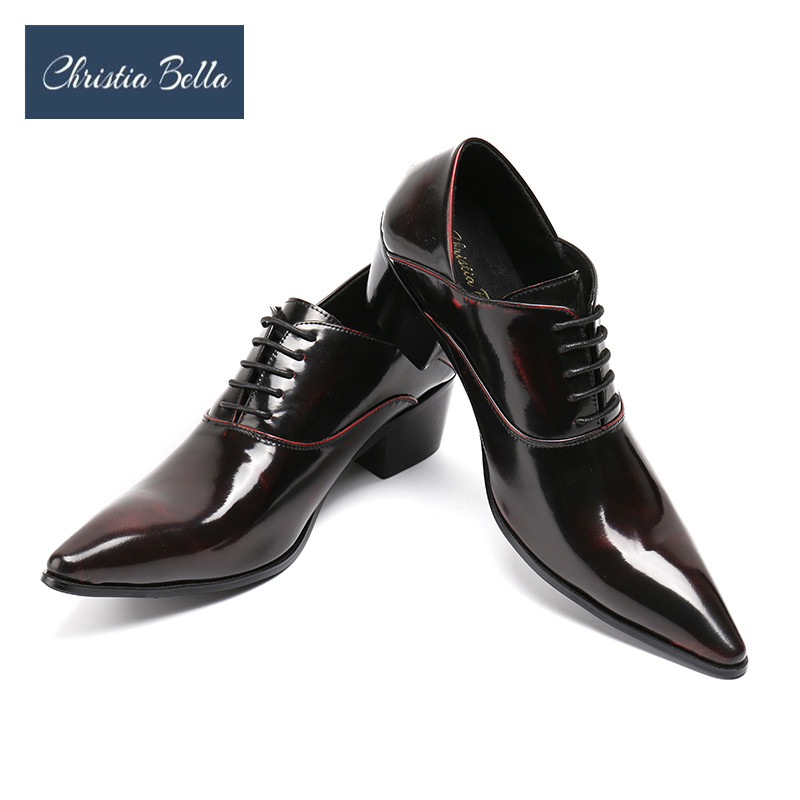 Christia Bella Mens Dress Shoes High Heels Leather Wedding Shoes Mens Formal Business Shoes Man Oxfords Shoes for Work Plus Size