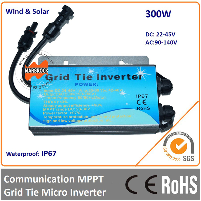 Waterproof IP67!!! 300W grid tie micro inverter with  communication function, 22-45VDC to 90-140VAC for 36V Solar Panel
