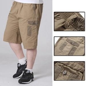 Image 4 - summer mens safari style cargo Shorts pocket cotton plus size 6XL 7XL 8XL man casual Elasticated waist shorts Stretch khaki 46