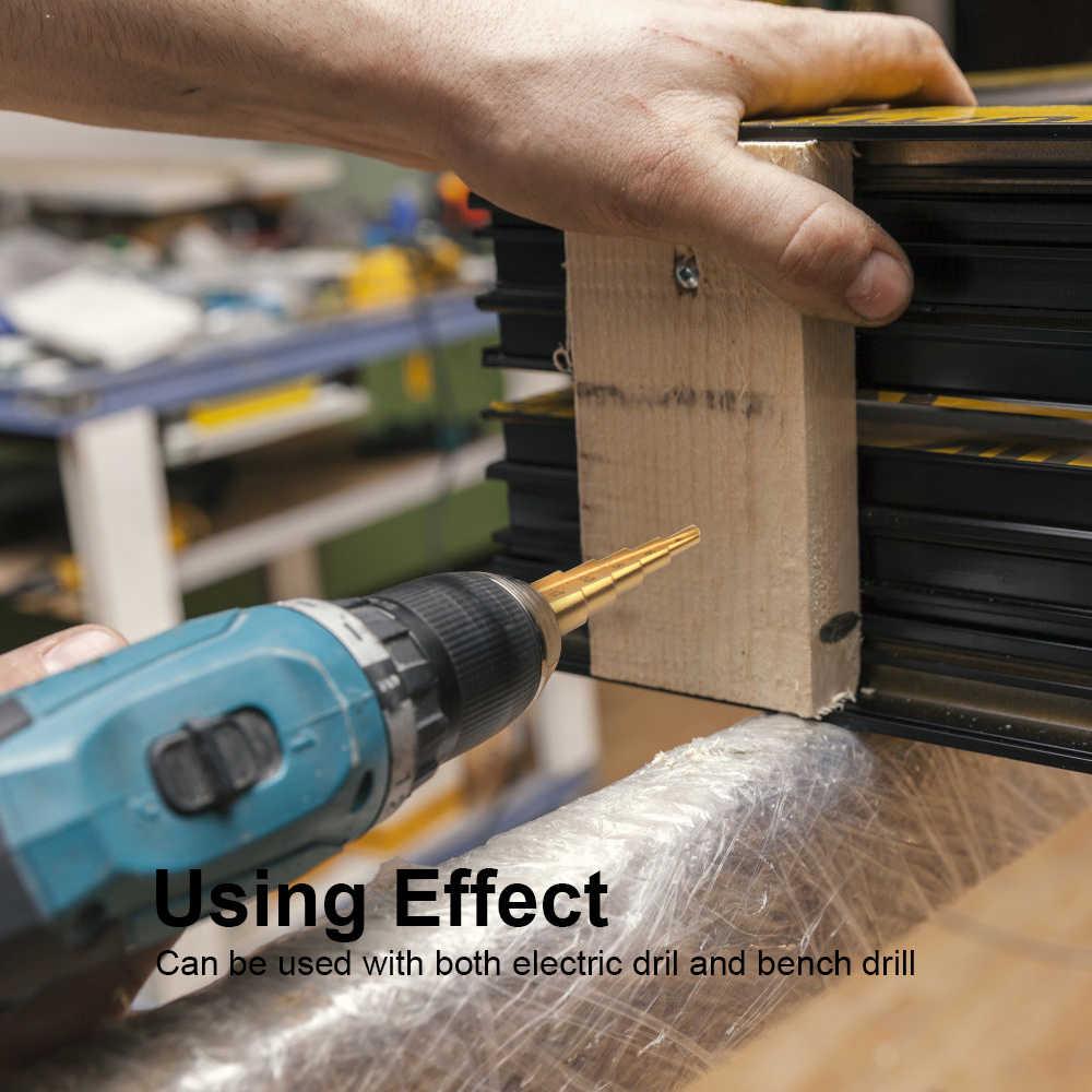 Jelbo 4-12mm hss titânio revestido passo broca ferramentas elétricas de perfuração para metal de alta velocidade de aço cortador de furo de madeira passo cone broca