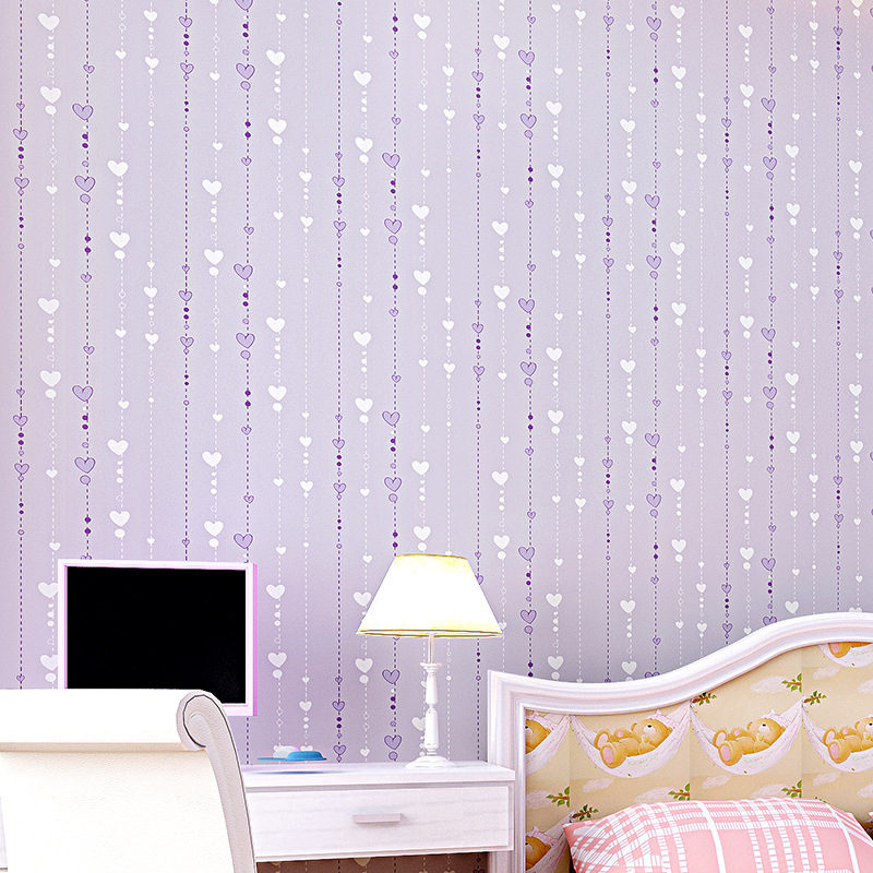 beibehang Environmental protection non-woven children's room love bead curtain wallpaper bedroom full of pink papel de parede decorative arrangement of non woven love hanging pieces of the curtain