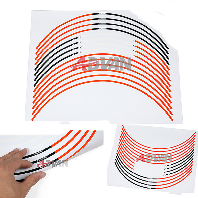 FREE SHIPPING Orange 17 Wheel Sticker Rim Decals Strips FIT For KTM Duke 125 200 390 Powersport motorcycle front rider seat leather cover for ktm 125 200 390 duke