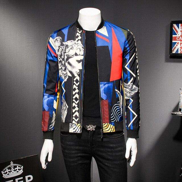 Spring Jackets Men Fashion 2018 New Luxury Print Bomber Jacket Casual Slim Fit Long Sleeve Social Coats Men Wind Breaker Outwear