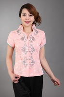 Summer New Pink Women Short Sleeve Shirt Chinese Vintage Handmade Embroidery Blouse Silk Satin Tops S