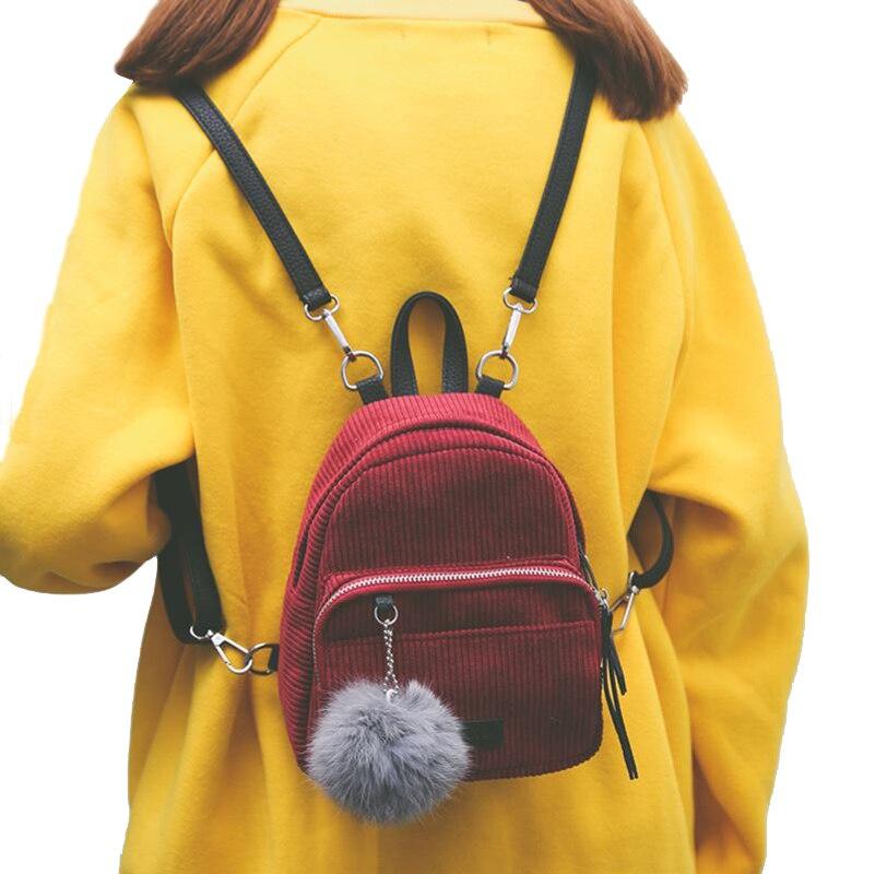 Girl Backpack Small Mini Backpack Small Women Shoulder Bag Fur Ball Solid Color Corduroy Back Pack winter Velvet Schoolbag 920
