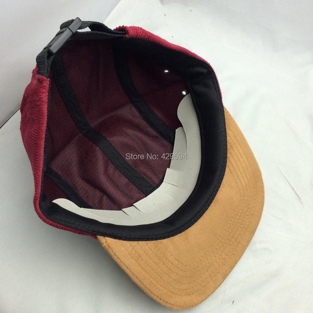 4de8b35803d7e Red corduroy crown suede brim hip hop hat custom blank 5 panel headwear  camp cap baseball hat-in Baseball Caps from Apparel Accessories on  Aliexpress.com ...