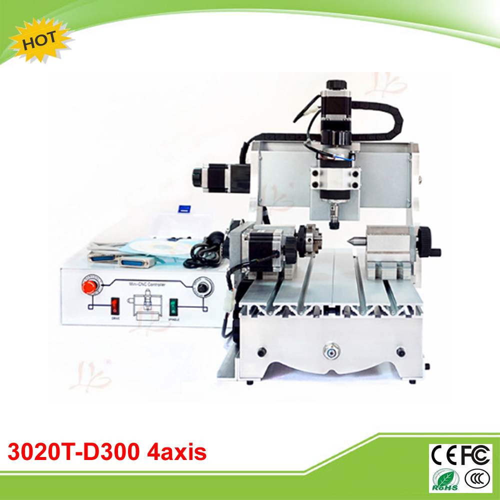 CNC 3020T-D300 4 axis mini CNC Router Drilling Milling Machine cnc 5axis a aixs rotary axis t chuck type for cnc router cnc milling machine best quality
