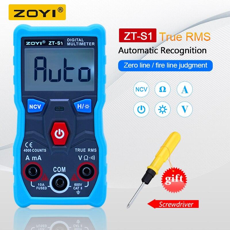 ZOYI ZT-S1 probador multímetro Digital lineal verdadero rms automotriz Mmultimetro con NCV de retención de datos de la pantalla LCD + linterna