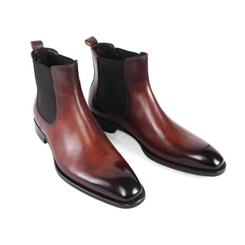 Feste 2019 Braun Vintage Chelsea Schuhe Black Red Echte Leder brown Männer wine Stiefel Marke Vikeduo Männliche Handgemachte Boot Party Büro Sapatos Ankle aFqzPI