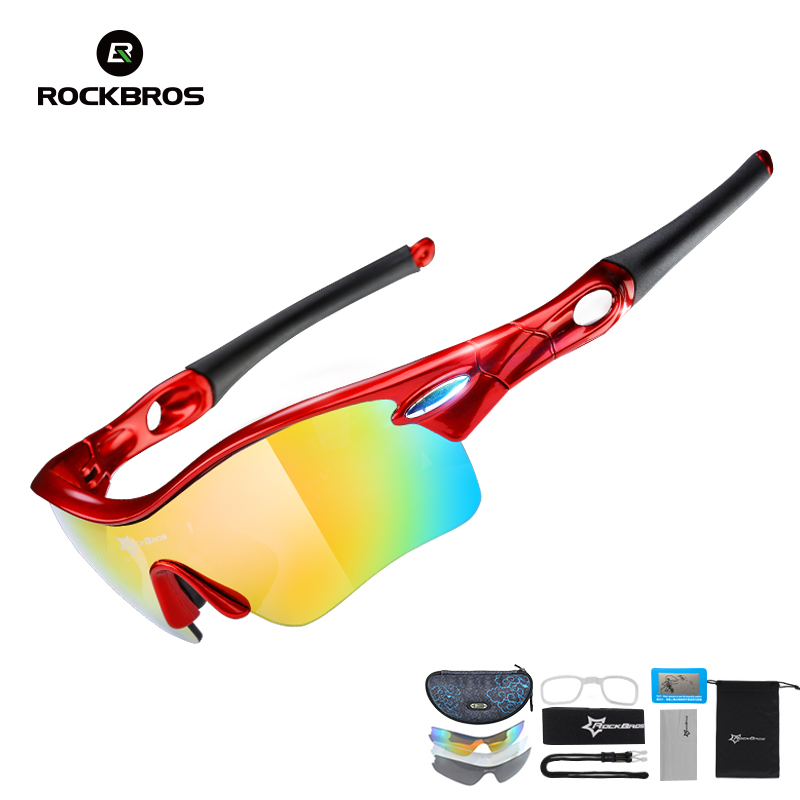 ROCKBROS Polarized Cycling Glasses Outdoor Sports Bicycle Glasses Men Sport Bike Sunglasses TR90 Goggles Eyewear 5 Lens, 3Color 2018 new 4 lens brand design outdoor sports polarized cycling glasses eyewear tr90 men women bike bicycle sunglasses mtb goggles